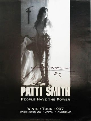 Original b/w poster announcing Patti Smith's Winter Tour 1997 ('People Have the Power'). Patti SMITH