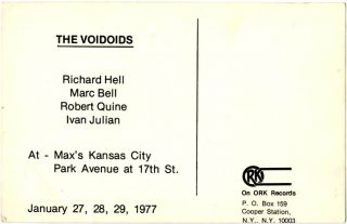 Original Ork Records promotional card, c. late 1976/early 1977.