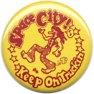 Vintage Space City! Keep on Truckin' metal badge. R. CRUMB