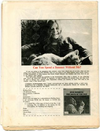 """""""Visuals: A Mind-Blown, Chaplinesque Mouse"""", a 1pp. feature on Rick Griffin by Thomas Albright, in ROLLING STONE #12 (SF: 22nd June, 1968)."""