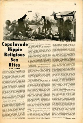Full-page back cover comic strip in THE EAST VILLAGE OTHER Vol. 4, #5 (NY: 3rd January, 1969).