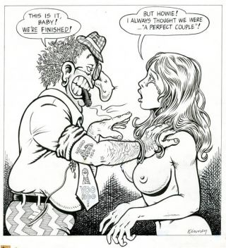 Original artwork drawn in 1972 for the front cover of Screw: The Sex Review. Jay KINNEY