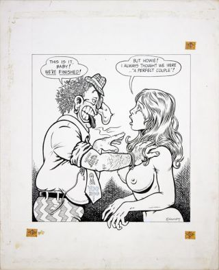 Original artwork drawn in 1972 for the front cover of Screw: The Sex Review.
