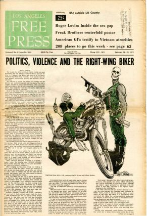 "Front cover art (reprinted from Skull #2) accompanying headline story, ""Politics, Violence and..."
