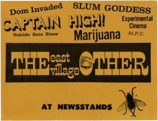 THE EAST VILLAGE OTHER. An original advertising card intended for display in newsagents and...