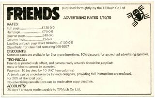 A printed publicity sheet reprinting Wilfred De'Ath's review of Friends from The Listener, 10th September, 1970 + Friends advertising rates card, dated 1st October, 1970.