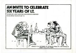 "A printed invite for an evening ""To Celebrate Six Years of IT"" to be held in Wardour Mews, Soho,..."