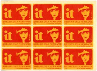 An unused sheet of 9 IT stickers, c. 1973. INTERNATIONAL TIMES