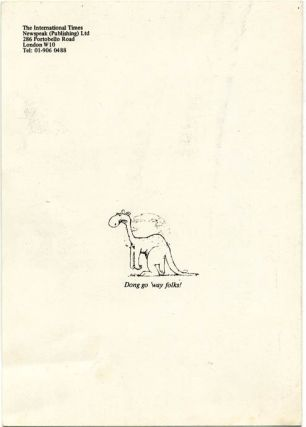 A folded card issued by IT to announce a new series, c. May 1974 + IT compliments card, both items featuring artwork by Ed Barker.