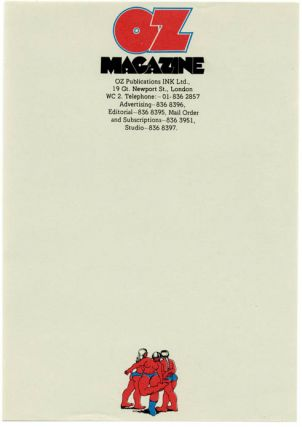 A single sheet (small size) of unused Oz Publications letterhead stationery featuring Robert...