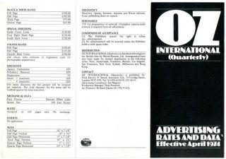 A double-sided advertising rates card designed by Richard Adams for the projected Oz...