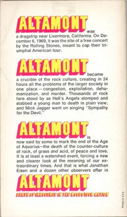 Altamont: Death of Innocence in the Woodstock Nation.