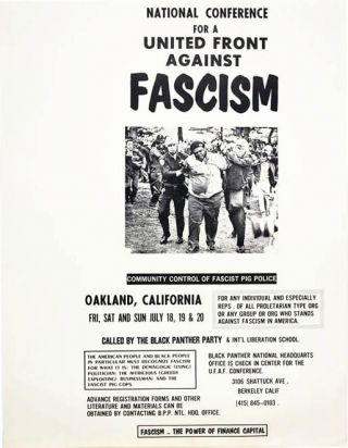NATIONAL CONFERENCE FOR A UNITED FRONT AGAINST FASCISM. Offset poster, printed in black on white...