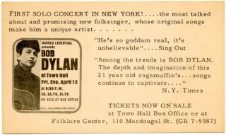 Original small thin card flyer produced by promoter Harold Leventhal announcing Bob Dylan's Town...