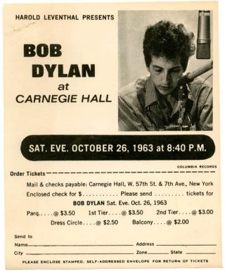 Original small flyer announcing Bob Dylan at Carnegie Hall, New York, on 26th October, 1963. Bob...