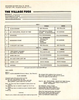 The Village Fugs Sing Ballads of Contemporary Protest, Point of Views, and General Dissatisfaction.