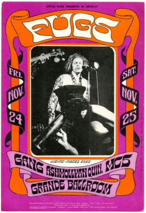 Original postcard reproducing Gary Grimshaw's poster art in miniature announcing The Fugs at the...