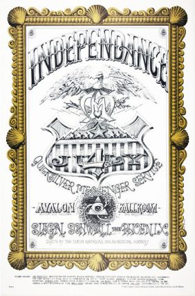 "Original poster (""Independance"") designed by Rick Griffin announcing Quicksilver Messenger..."