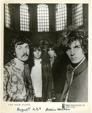 Original 10x8 b/w publicity photograph of the Pink Floyd, issued by Premier Talent Associates,...