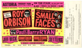Original flyer with postal booking form still attached announcing The Small Faces and Roy Orbison...