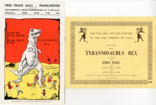 Original flyer announcing Tyrannosaurus Rex at the Free Trade Hall, Manchester, 22nd February,...