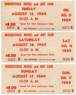 A set of three unused Woodstock Festival one-day $8 tickets, Friday 15th-Sunday 17th August,...