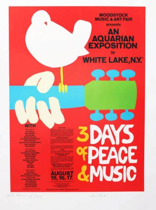 "A limited edition screenprint of Arnold Skolnick's famous poster announcing the ""Woodstock Music..."
