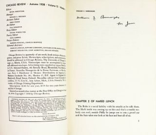 """""""Chapter 2 of Naked Lunch"""" (10pp.), in CHICAGO REVIEW Vol. 12, #3 (Chicago: Autumn 1958)."""