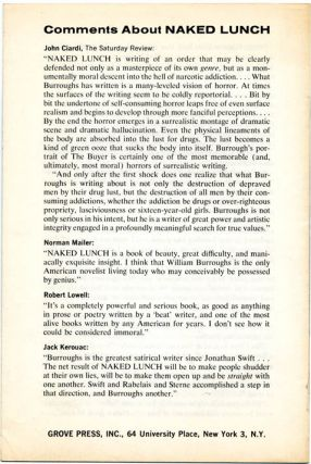 """William Burroughs NAKED LUNCH"", an advance publicity pamphlet for the Grove Press first edition, issued in October 1962."