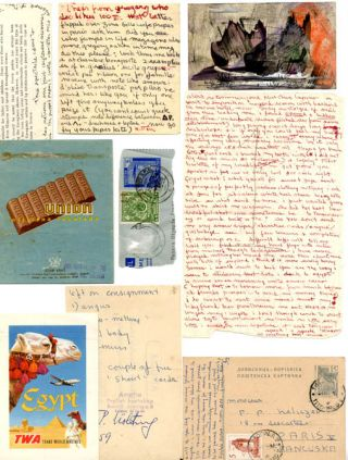 A collection of autograph letters, postcards, and handwritten notes from Olivia de Haulleville to Piero Heliczer, c. 1959-1960.