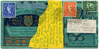 Handmade autograph postcard from Piero Heliczer to Anita (Morris), postmarked Oxford, c. January...