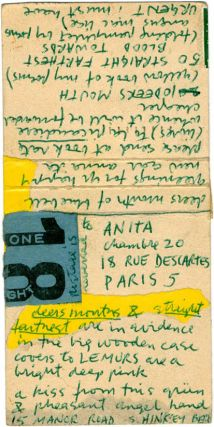 Handmade autograph postcard from Piero Heliczer to Anita (Morris), postmarked Oxford, c. January 1960.