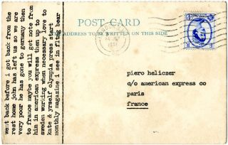 Typed postcard from Tom Raworth to Piero Heliczer, postmarked London N.W. 24 July, 1961