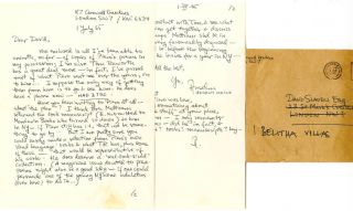 Autograph letter signed from Anselm Hollo to David Sladen, dated July 1, 1965, with nine...