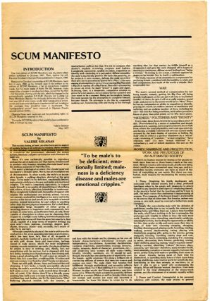 "SCUM Manifesto, subtitled ""This is the CORRECT Valerie Solanas edition""."