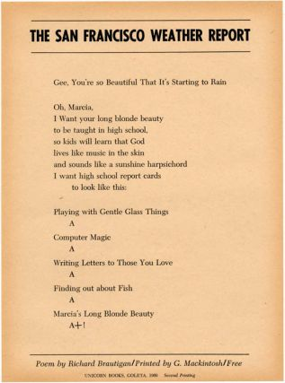 The San Francisco Weather Report. Richard BRAUTIGAN