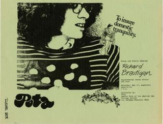 "A handbill announcing a reading by ""Richard Brautigan Experimental Prose Writer and Poet"" at..."
