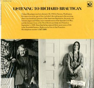 Listening To Richard Brautigan. Richard BRAUTIGAN