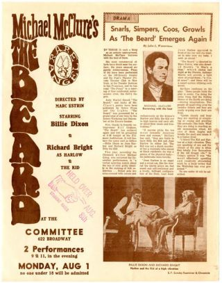 An original handbill announcing a production of 'The Beard' at The Committee, a theatre nightclub...