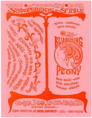 Original double-sided handbill designed by Hillis publicising The Blushing Peony, a hippie...