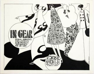 An original poster designed by Steven Arnold advertising the Haight Street boutique, In Gear, c....