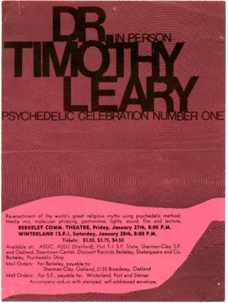 Original handbill announcing Timothy Leary's Psychedelic Celebration Number One, with Leary...
