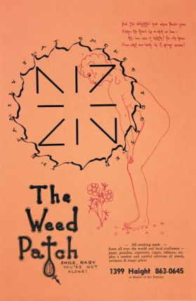 Original poster advertising the Weed Patch, a head shop selling rolling papers, ornate roach...