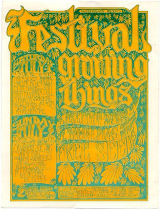 FESTIVAL OF GROWING THINGS. Original handbill announcing the two-day event held at Mt. Tamalpais...