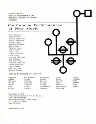 CONTINUOUS PERFORMANCES OF NEW MUSIC