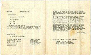 Original programme for 'A Happening' by Kaprow and Whitman's 'Movies With Sound, Song and Play' at the Maidman Playhouse, NYC, March 22, 1962, part of the Poets Festival organised by The New York Poets Theatre.