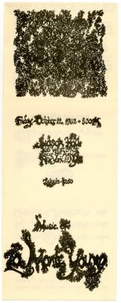 Flyer designed by Marian Zazeela announcing a concert of music by La Monte Young at the Judson Hall, New York City, October 12, 1962.