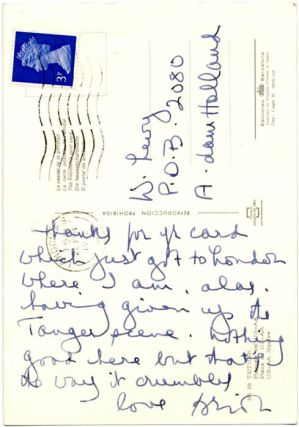 Two autograph postcards signed from Brion Gysin to Bill Levy, c. 1972.