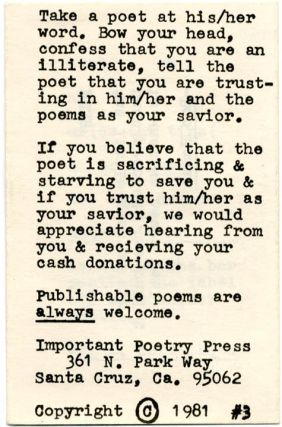 """""""Now To Say A Few Words About Falwell and his Moron Majority"""" in THIS IS IMPORTANT #3 (Santa Cruz, CA: Important Poetry Press, 1981)."""