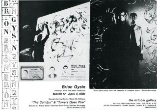 Small poster announcing the exhibition of paintings by Brion Gysin shown at the October Gallery,...